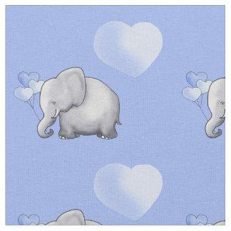 Adorable Blue Polka Hearts Elephants Baby Nursery Fabric