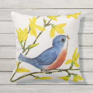 Adorable Blue Red Singing Bird Yellow Flowers Outdoor Pillow