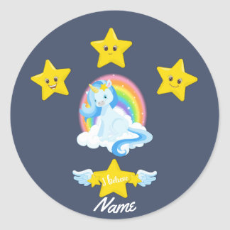 Adorable Blue Unicorn and Rainbow Personalized Classic Round Sticker