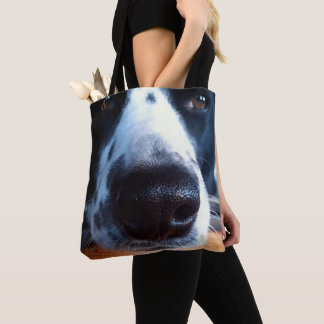 Adorable Border Collie Nose Close-Up Photograph Tote Bag