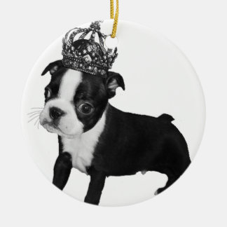 Adorable BOSTON TERRIER Puppy DOG Crown Round Ceramic Ornament