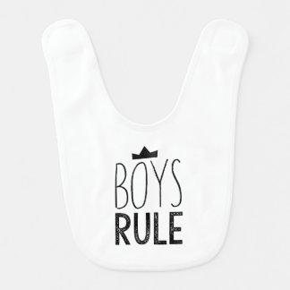 Adorable Boys Rule baby bib - Black White Stripes