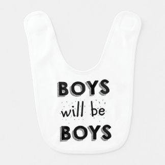 Adorable Boys Will be Boys baby bib - Stripes