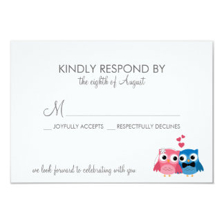 "Adorable Bride and Groom Owls Wedding RSVP Card 3.5"" X 5"" Invitation Card"
