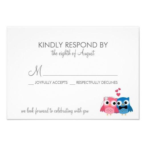 Adorable Bride and Groom Owls Wedding RSVP Card Custom Announcements