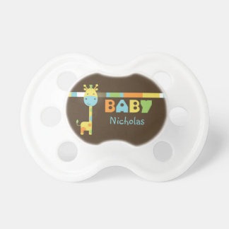 Adorable Brown Baby Giraffe Personalized Pacifier