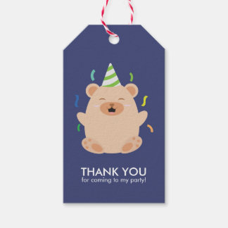 Adorable Brown Bear Kids Birthday Party Gift Tags