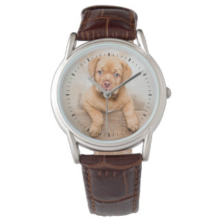 Adorable Brown Puppy Watercolor with Black Ticks Watch