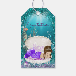 Adorable Brunette Mermaid Gift Tags