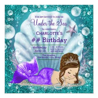 Adorable Brunette Mermaid Under the Sea Birthday Card