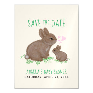 Adorable Bunnies Hearts Baby Shower Save The Date Magnetic Card