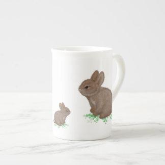 Adorable Bunnies in Clover Bone China Mug