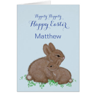 Adorable Bunnies in Clover Easter Card