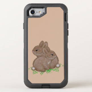 Adorable Bunnies in Clover OtterBox Defender iPhone 8/7 Case