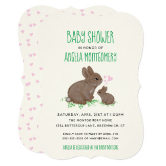 Adorable Bunnies in Clover with Hearts Baby Shower Card