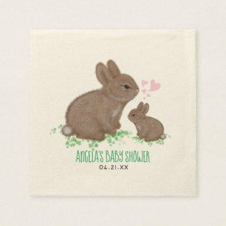 Adorable Bunnies in Clover with Hearts Baby Shower Paper Napkin