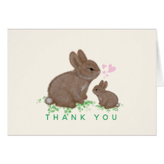 Adorable Bunnies with Hearts Baby Shower Thank You Card