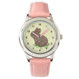 Adorable Bunny in Clover (right hand) Wristwatches