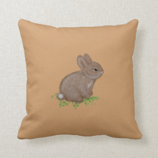 Adorable Bunny in Clover with Name Throw Pillow