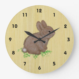Adorable Bunny in Clover with Wood Background Clock