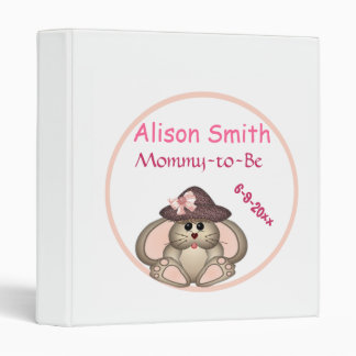 Adorable Bunny, Mommy-to-Be Baby Shower 3 Ring Binder