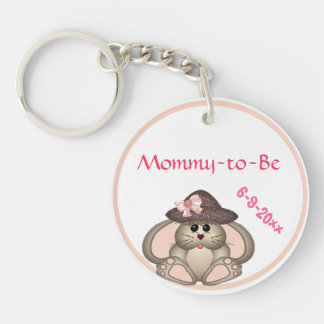 Adorable Bunny, Mommy-to-Be Baby Shower Double-Sided Round Acrylic Keychain