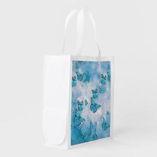 Adorable Butterflies, aqua Reusable Grocery Bag