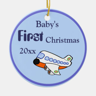 Adorable Cartoon Airplane for Baby's 1st Christmas Ceramic Ornament