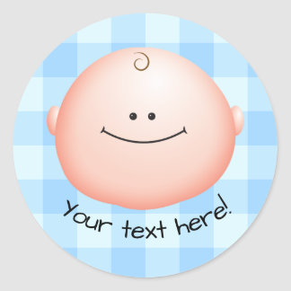 Adorable Cartoon Baby Face Icon Classic Round Sticker