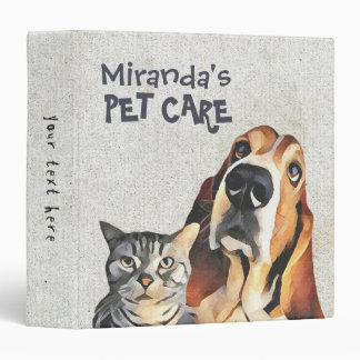 Adorable Cartoon Cat and Dog Illustration Painting Vinyl Binders
