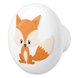 Adorable Cartoon Fox with Polka-Dot Background Ceramic Knob