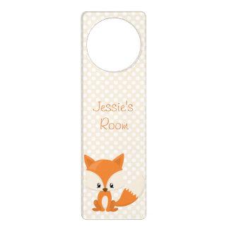 Adorable Cartoon Fox with Polka-Dot Background Door Hanger