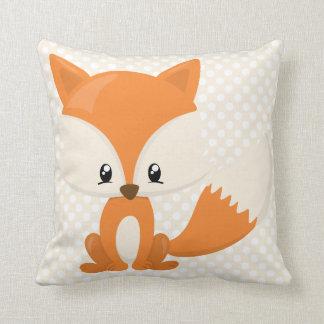 Adorable Cartoon Fox with Polka-Dot Background Throw Pillow