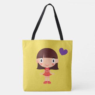 Adorable Cartoon Girl and Heart Print Tote Bag