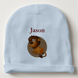 Adorable Cartoon Lion With Custom Monogram Baby Beanie