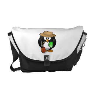 Adorable Cartoon Penguin Farmer Messenger Bags