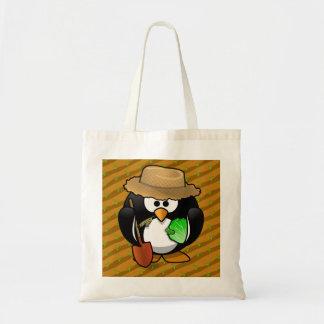 Adorable Cartoon Penguin Farmer on Field Tote Bags
