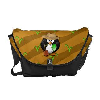 Adorable Cartoon Penguin Farmer on Field Courier Bag