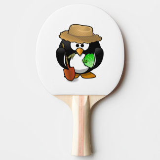 Adorable Cartoon Penguin Farmer Ping Pong Paddle