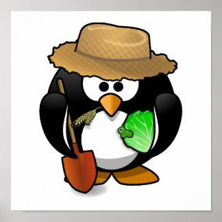 Adorable Cartoon Penguin Farmer Poster