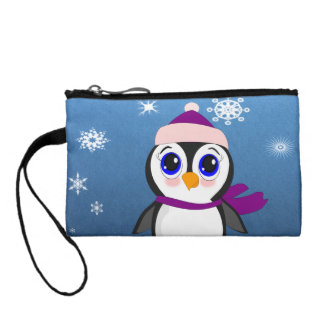 Adorable Cartoon Penguin with Scarf and Hat Coin Wallets