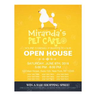 Adorable Cartoon Poodle Dog Pet Shop Open House Full Color Flyer