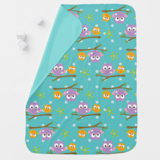 Adorable Cartoon Style Owls on Branch Print Baby Blanket