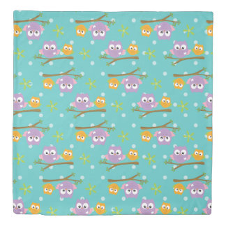 Adorable Cartoon Style Owls on Branch Print Duvet Cover