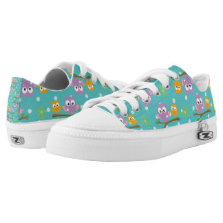 Adorable Cartoon Style Owls on Branch Print Low-Top Sneakers