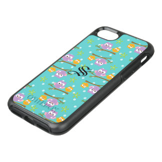 Adorable Cartoon Style Owls on Branch Print OtterBox Symmetry iPhone 8/7 Case
