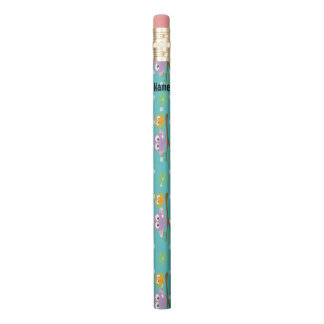 Adorable Cartoon Style Owls on Branch Print Pencil