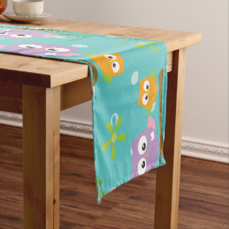 Adorable Cartoon Style Owls on Branch Print Short Table Runner