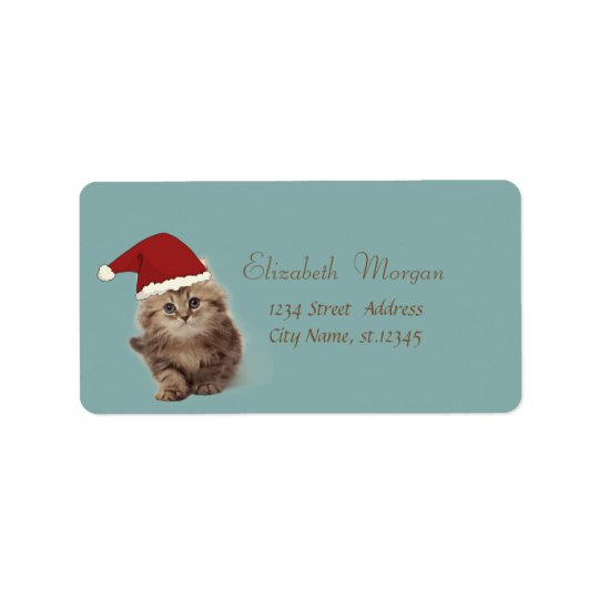 Adorable Cat With Santa Hat Label
