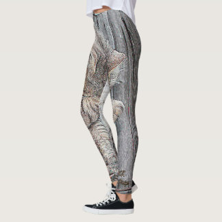 Adorable Cat Women's Leggings With Fur Print